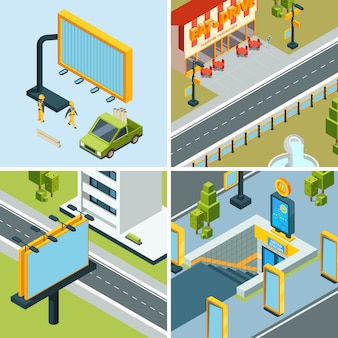 Urban advertising boards. outdoor placard led panels billboards at streets landscapes  isometric  pictures