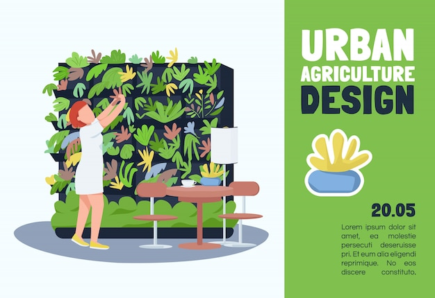 Urban agriculture     template. brochure, poster concept design with cartoon characters. interiors floral decoration service horizontal flyer, leaflet with place for text