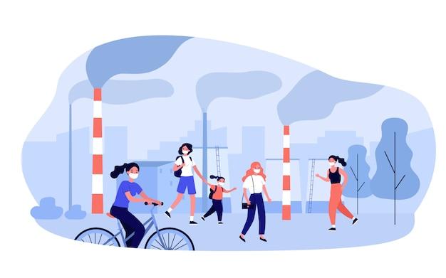 Загрязнение городского воздуха Premium векторы