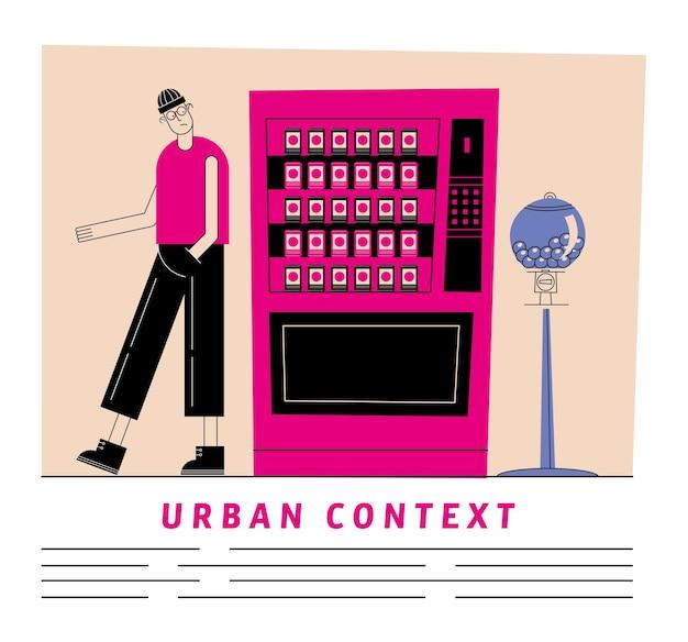 현대적이고 스타일의 테마의 소다 냉장고와 사탕 구가있는 도시 및 도시 남자