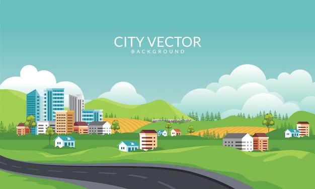 自然風景のパノラマビューイラストと都市と郊外の街並み