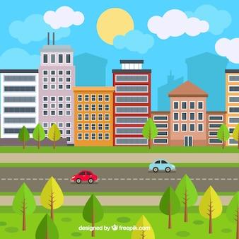 Urban atmosphere background in flat design
