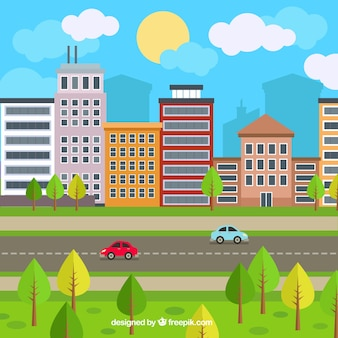 Urban atmosphere background in flat design