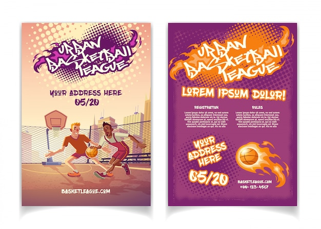 Urban basketball league tournament promo cartoon brochure with graffiti lettering text
