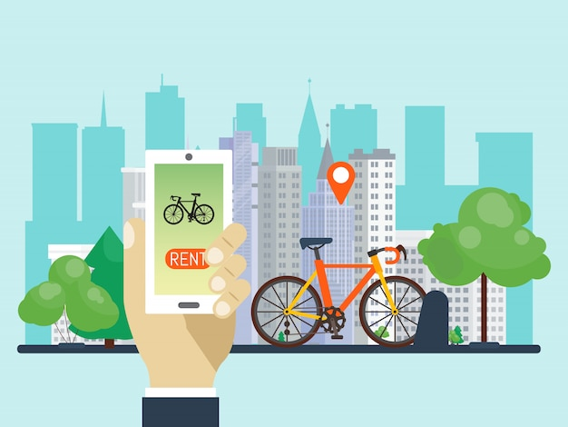 Urban bike renting system by using the phone app vector illustration. smart service for rent bikes in the city.