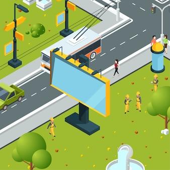 Городские рекламные щиты изометрии. городок с пустыми местами для размещения рекламы на щитах светодиодных панелей световых коробов уличного пейзажа