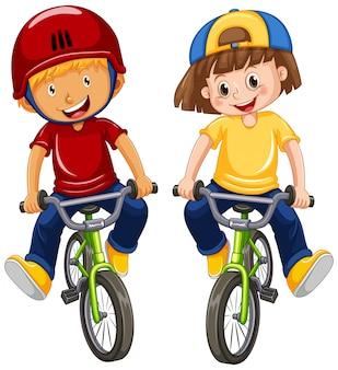 Urban boys riding bicycle on white background