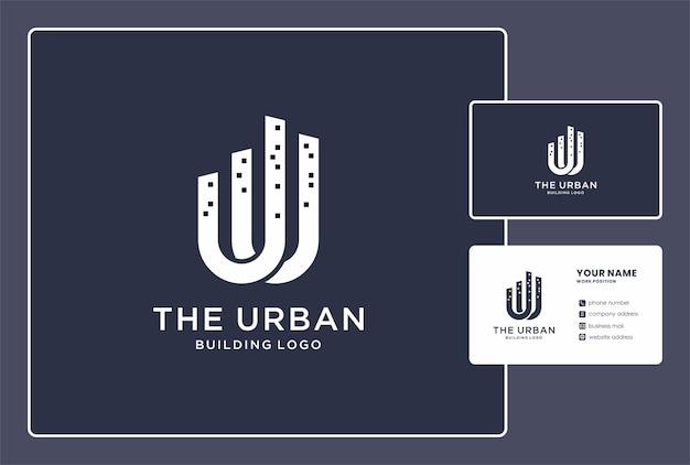 Городское строительство логотип и дизайн визитной карточки.