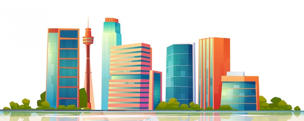 Urban building skyline panoramic banner