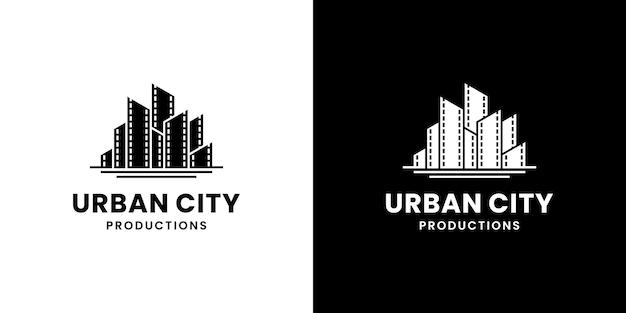 映画制作のロゴデザインのためのフィルムストライプのある都市の建物