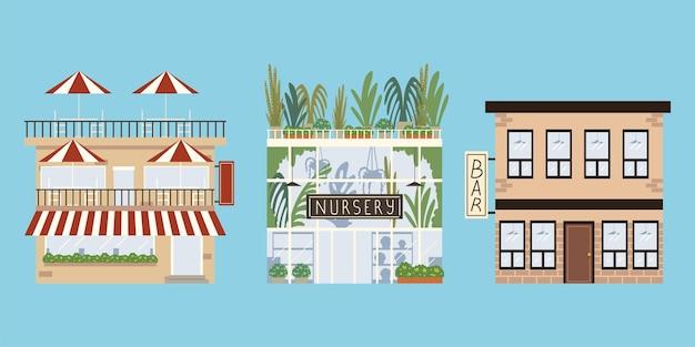 Зоомагазин в городских зданиях, бар, ресторан
