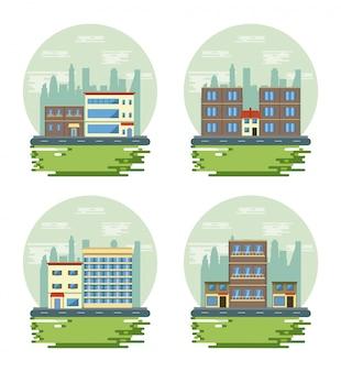 Urban buildings cityscape view scenarios