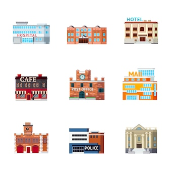 Urban buildings icon set