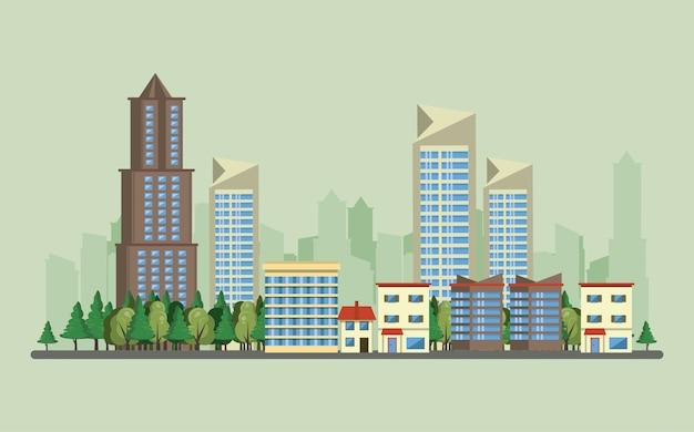 도시 풍경과 도시 건물 무료 벡터