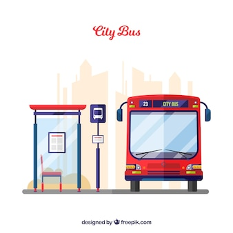 Urban Bus And Stop With Flat Design