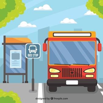 Городской автобус и автобусная остановка с плоским дизайном