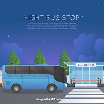 평면 디자인의 도시 버스 및 버스 정류장