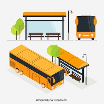 아이소 메트릭 뷰가있는 도시 버스 및 버스 정류장