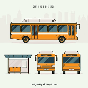 Urban bus and bus stop with flat design