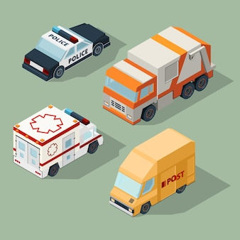 Urban cars isometric. garbage truck mail van police and ambulance  city traffic 3d illustrations