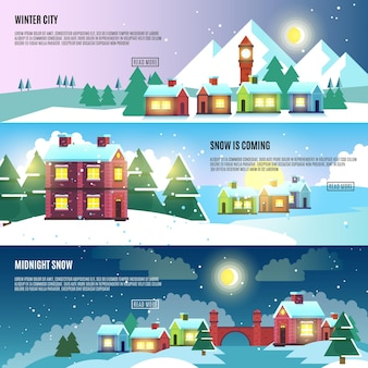 Urban, city, cityscape winter vector banners set. architecture urban snow, banner snow cityscape, snow urban building, urban exterior snow illustration
