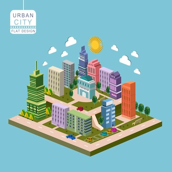 Urban city concept 3d isometric infographic with modern buildings