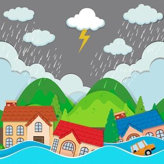 An urban city under flood
