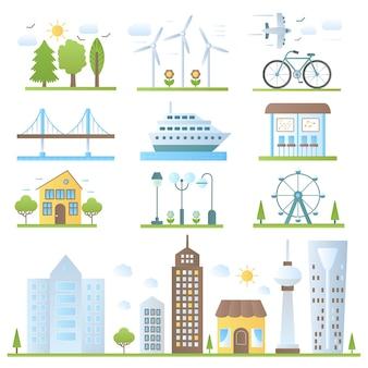 トレンディなグラデーションカラースタイルで設定された都市景観デザイン要素