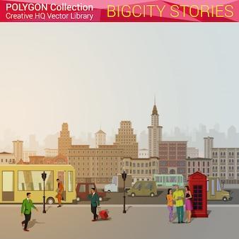 Urban city landscape polygonal style illustration.