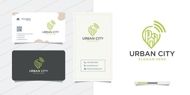 Urban city location design and business card design