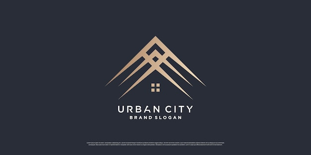 Urban city logo concept with luxury loking premium vector