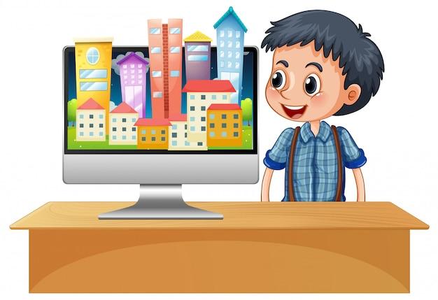 コンピューター画面のデスクトップ上の都市