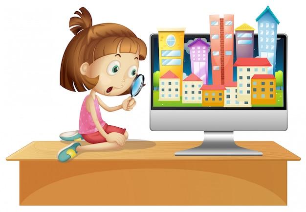Городской город на рабочем столе экрана компьютера