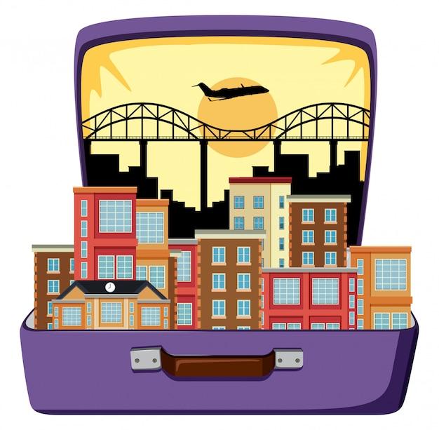 Городской город на чемодане
