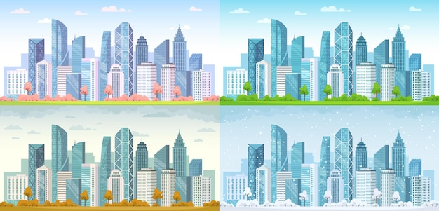 Urban city seasons. spring town, summer, autumn urban panorama and cold winter cityscape background illustration set.