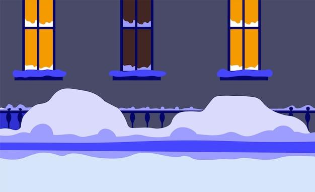 Городской пейзаж, улица города покрыта сугробами. зимний сезон и холодный вечер, прохлада и мороз. дом с подсветкой в окнах, освещенный дом или квартира. вектор в плоском стиле