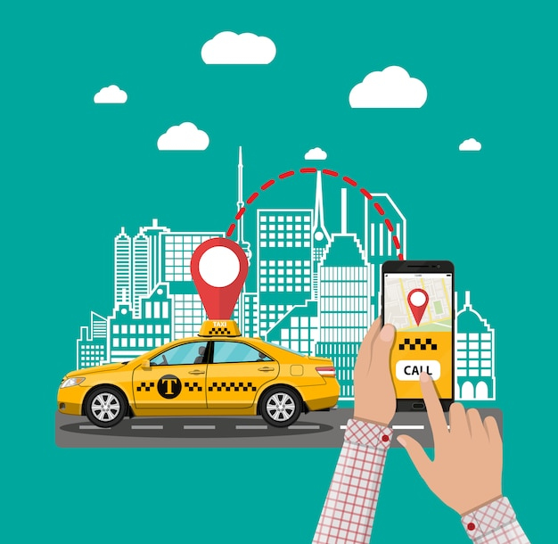 Urban cityscape with cab, phone taxi service app