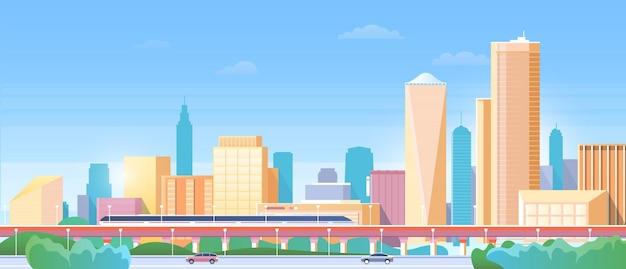 Urban cityscape with modern metro train on railway bridge skyline