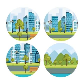 Urban cityscapes set scenes