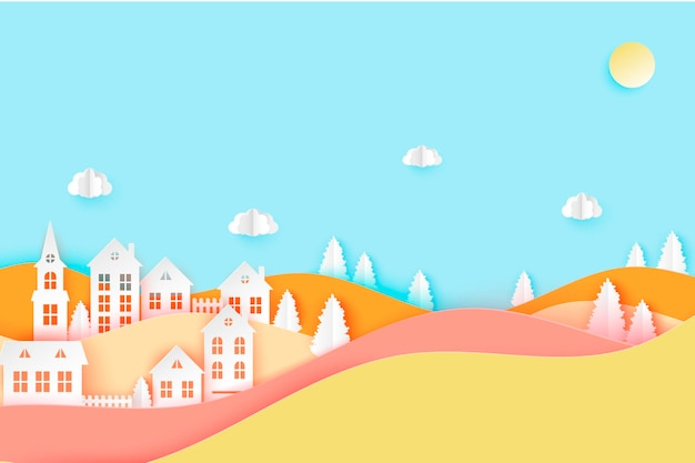 Urban countryside landscape village with cute paper houses pine trees and clouds