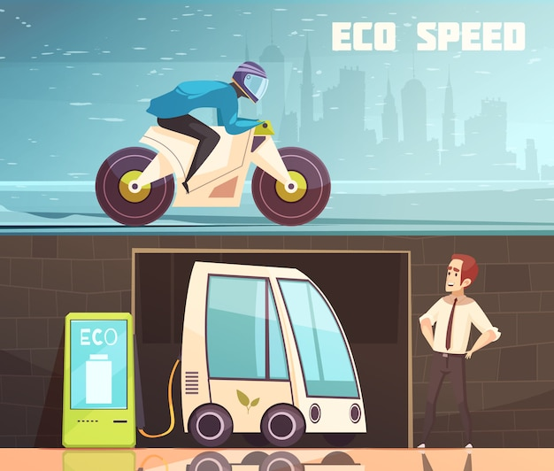 Urban eco transport horizontal banner set