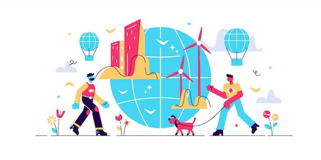都市生態学のイラスト。平らな小さな緑の環境の人の概念。持続可能で代替的な風力エネルギーと新鮮な空気がある近代的な都市。リサイクルおよび再生可能な資源。グローバルタウンの未来