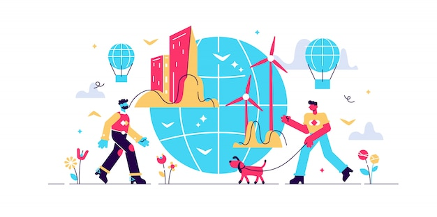Urban ecology illustration. flat tiny green environment persons concept. modern city with sustainable, alternative wind energy and fresh air. recycle and renewable resources. global town future
