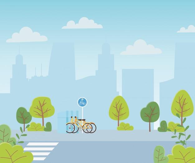 都市生態駐車場自転車輸送交差点通り都市景観