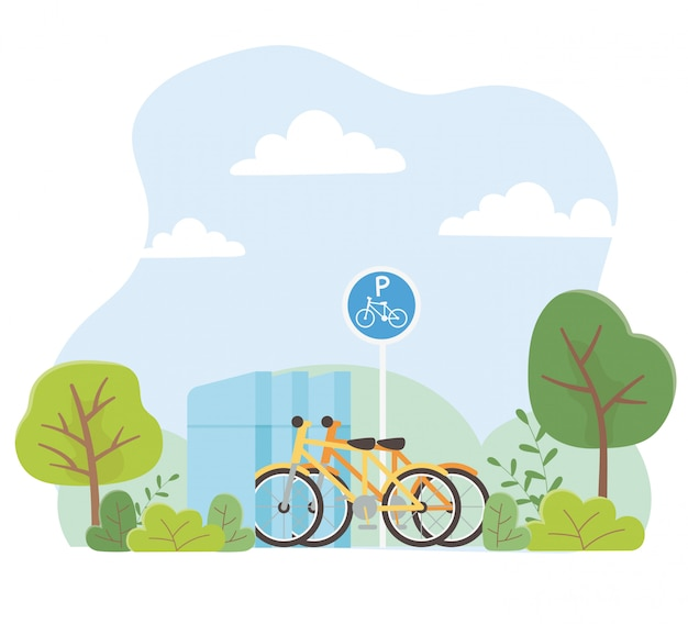 都市エコロジー駐車自転車交通公園木自然