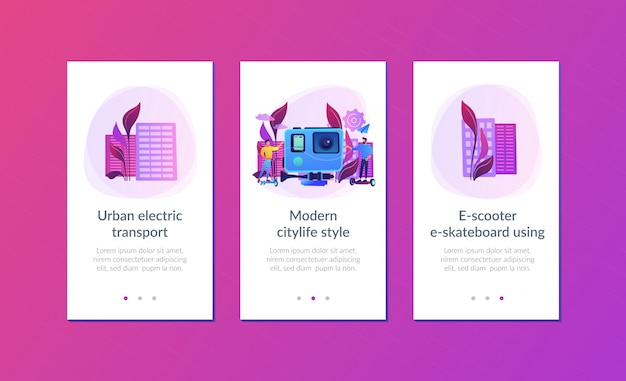Urban electric transport app interface template.