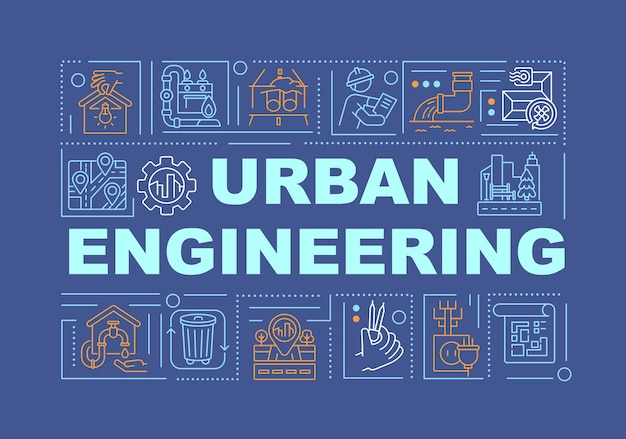 Urban engineering word concepts banner illustrations