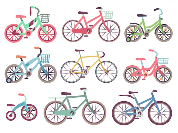 Urban family bikes flat  set. different bicycles collection