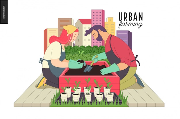 都市農業および園芸 Premiumベクター