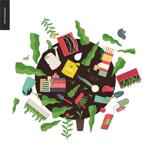 Urban farming and gardening collage